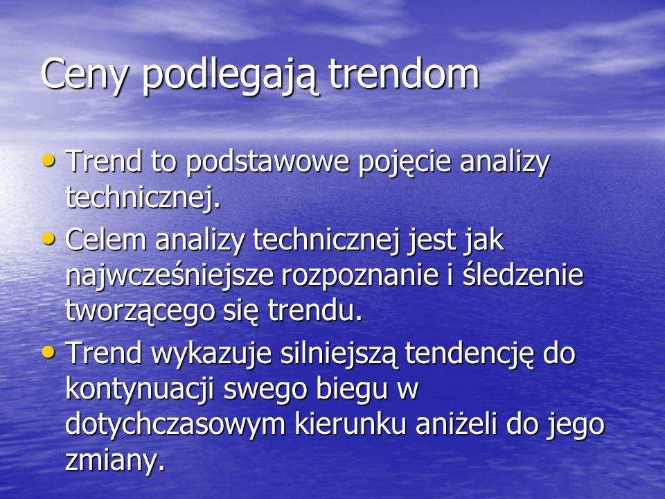 Ceny podlegają trendom Trend to podstawowe pojęcie analizy technicznej. Trend to podstawowe pojęcie analizy technicznej. Celem analizy technicznej jes