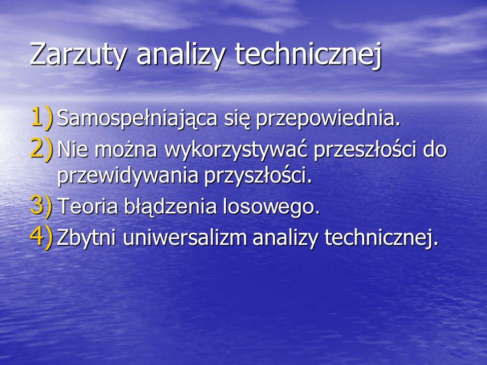 Zarzuty analizy technicznej 1) Samospełniająca się przepowiednia. 2) Nie można wykorzystywać przeszłości do przewidywania przyszłości. 3) Teoria błądz
