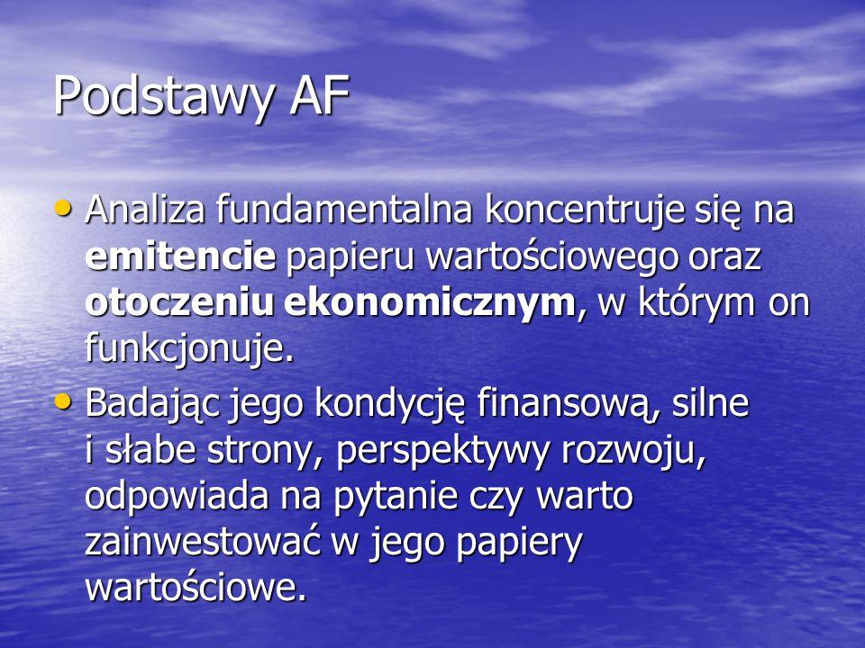 Podstawy AF Analiza fundamentalna koncentruje się na emitencie papieru wartościowego oraz otoczeniu ekonomicznym, w którym on funkcjonuje.