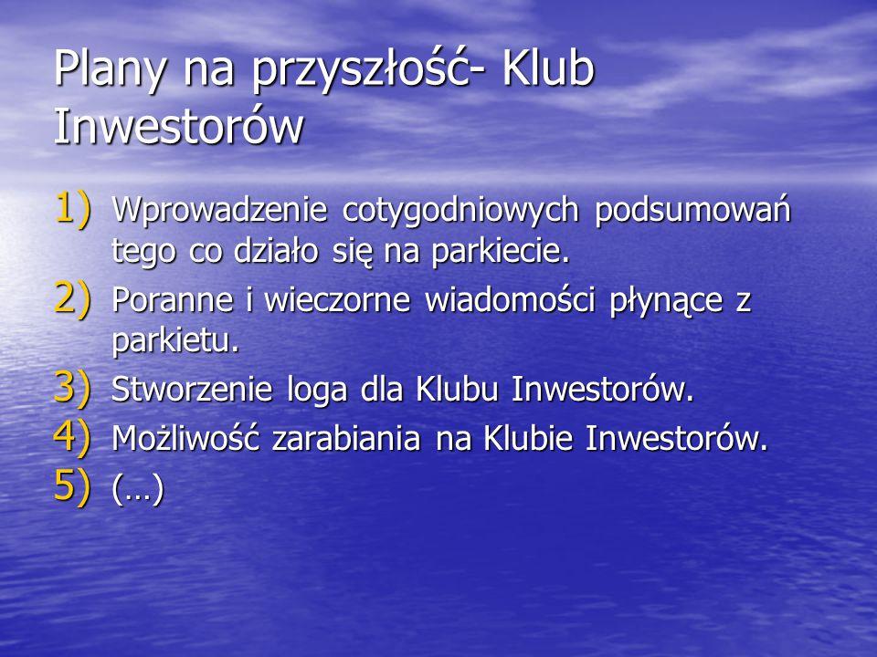 Plany na przyszłość- Klub Inwestorów 1) Wprowadzenie cotygodniowych podsumowań tego co działo się na parkiecie. 2) Poranne i wieczorne wiadomości płyn