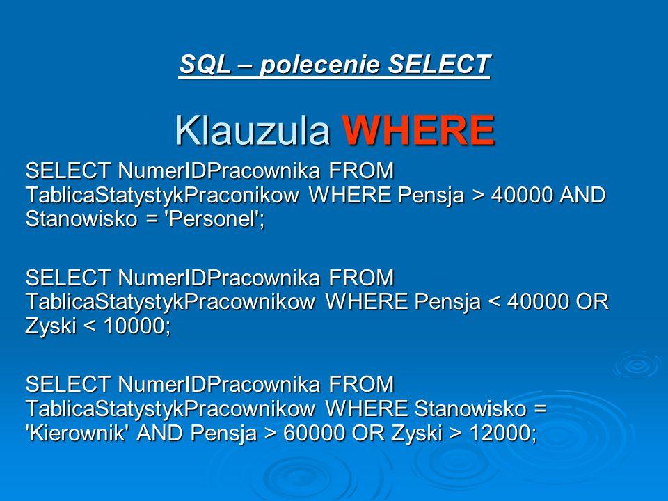 SQL – polecenie SELECT Klauzula WHERE SELECT NumerIDPracownika FROM TablicaStatystykPraconikow WHERE Pensja > 40000 AND Stanowisko = Personel ; SELECT NumerIDPracownika FROM TablicaStatystykPracownikow WHERE Pensja < 40000 OR Zyski < 10000; SELECT NumerIDPracownika FROM TablicaStatystykPracownikow WHERE Stanowisko = Kierownik AND Pensja > 60000 OR Zyski > 12000;
