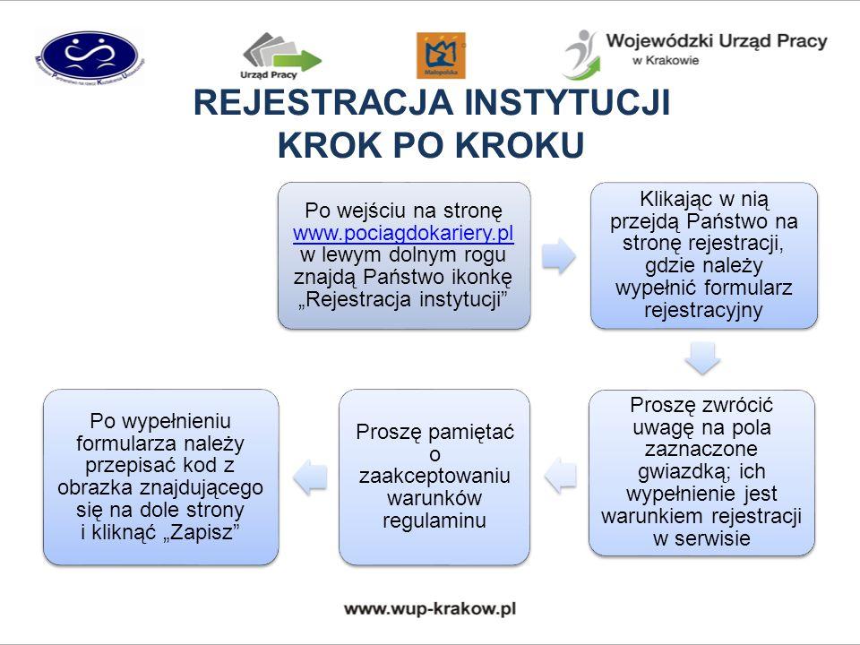 """REJESTRACJA INSTYTUCJI KROK PO KROKU Po wejściu na stronę www.pociagdokariery.pl w lewym dolnym rogu znajdą Państwo ikonkę """"Rejestracja instytucji www.pociagdokariery.pl Klikając w nią przejdą Państwo na stronę rejestracji, gdzie należy wypełnić formularz rejestracyjny Proszę zwrócić uwagę na pola zaznaczone gwiazdką; ich wypełnienie jest warunkiem rejestracji w serwisie Proszę pamiętać o zaakceptowaniu warunków regulaminu Po wypełnieniu formularza należy przepisać kod z obrazka znajdującego się na dole strony i kliknąć """"Zapisz"""