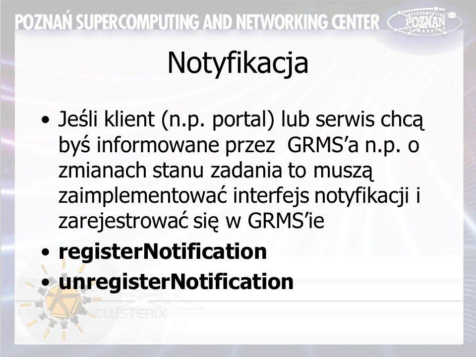 Notyfikacja Jeśli klient (n.p. portal) lub serwis chcą byś informowane przez GRMS'a n.p.