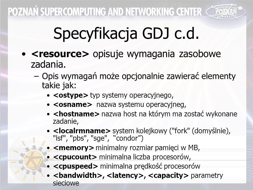 Specyfikacja GDJ c.d. opisuje wymagania zasobowe zadania.