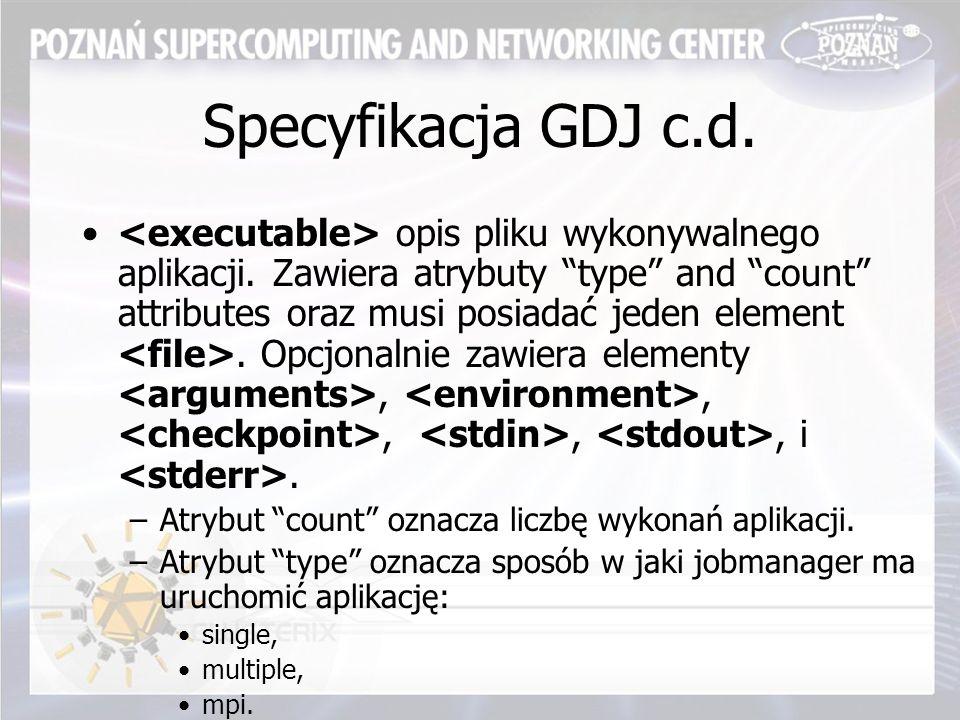 Specyfikacja GDJ c.d. opis pliku wykonywalnego aplikacji.