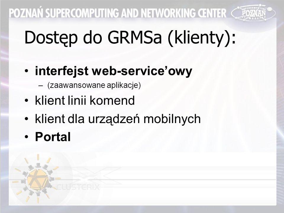 Dostęp do GRMSa (klienty): interfejst web-service'owy –(zaawansowane aplikacje) klient linii komend klient dla urządzeń mobilnych Portal