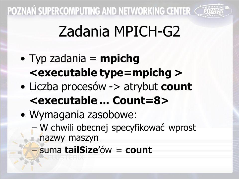 Zadania MPICH-G2 Typ zadania = mpichg Liczba procesów -> atrybut count Wymagania zasobowe: –W chwili obecnej specyfikować wprost nazwy maszyn –suma tailSize'ów = count