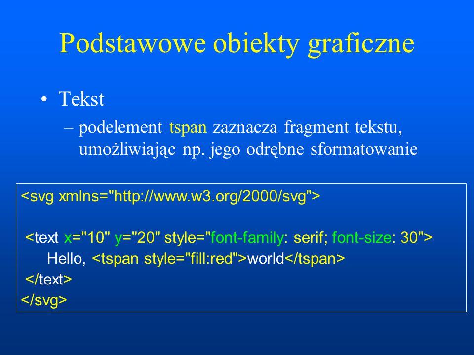 Podstawowe obiekty graficzne Tekst –podelement tspan zaznacza fragment tekstu, umożliwiając np.