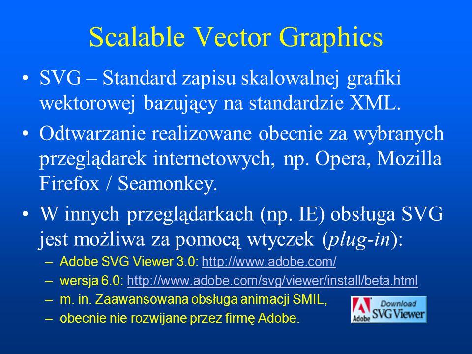 Scalable Vector Graphics SVG – Standard zapisu skalowalnej grafiki wektorowej bazujący na standardzie XML.