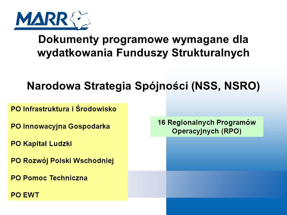 Dokumenty programowe wymagane dla wydatkowania Funduszy Strukturalnych Narodowa Strategia Spójności (NSS, NSRO) PO Infrastruktura i Środowisko PO Innowacyjna Gospodarka PO Kapitał Ludzki PO Rozwój Polski Wschodniej PO Pomoc Techniczna PO EWT 16 Regionalnych Programów Operacyjnych (RPO)