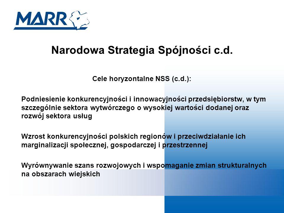 Narodowa Strategia Spójności c.d.