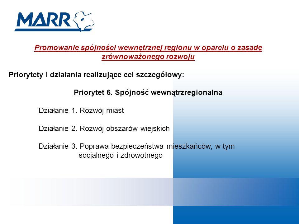 Promowanie spójności wewnętrznej regionu w oparciu o zasadę zrównoważonego rozwoju Priorytety i działania realizujące cel szczegółowy: Priorytet 6.