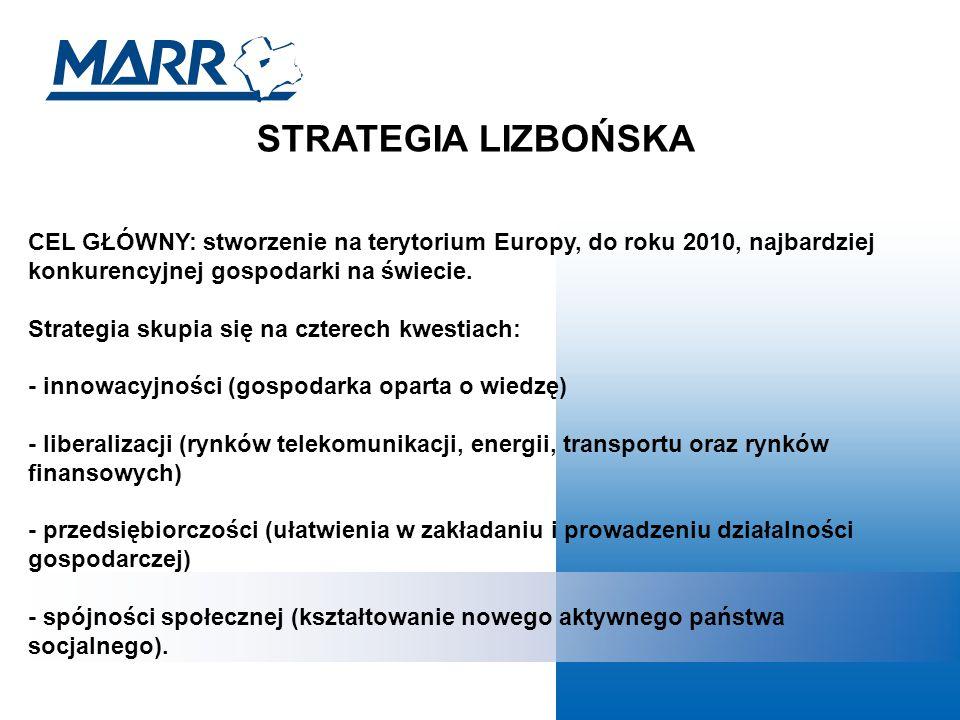 STRATEGIA LIZBOŃSKA CEL GŁÓWNY: stworzenie na terytorium Europy, do roku 2010, najbardziej konkurencyjnej gospodarki na świecie.