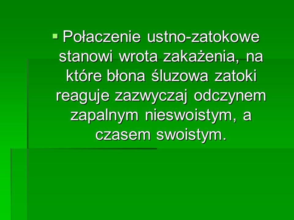  Połaczenie ustno-zatokowe stanowi wrota zakażenia, na które błona śluzowa zatoki reaguje zazwyczaj odczynem zapalnym nieswoistym, a czasem swoistym.