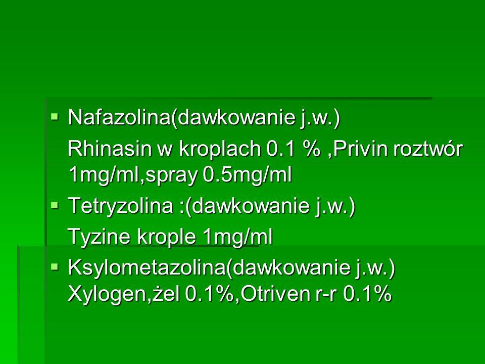  Nafazolina(dawkowanie j.w.) Rhinasin w kroplach 0.1 %,Privin roztwór 1mg/ml,spray 0.5mg/ml Rhinasin w kroplach 0.1 %,Privin roztwór 1mg/ml,spray 0.5