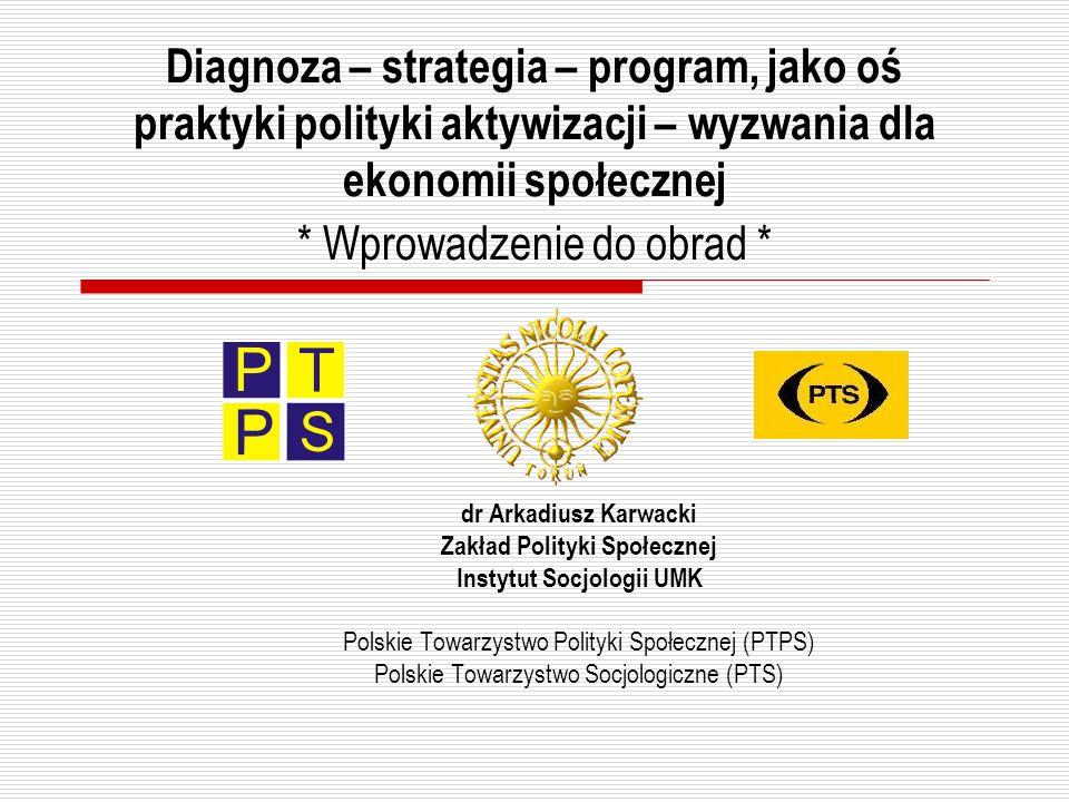 Diagnoza – strategia – program, jako oś praktyki polityki aktywizacji – wyzwania dla ekonomii społecznej * Wprowadzenie do obrad * dr Arkadiusz Karwac