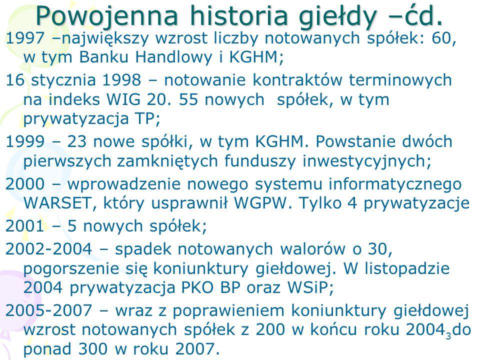 3 Powojenna historia giełdy –ćd.