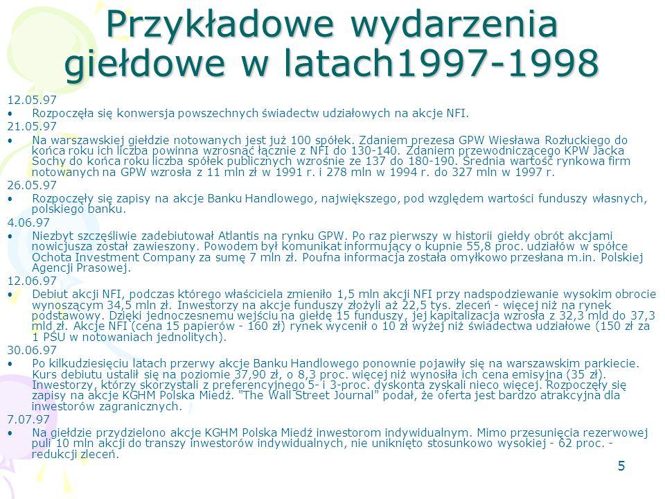 5 Przykładowe wydarzenia giełdowe w latach1997-1998 12.05.97 Rozpoczęła się konwersja powszechnych świadectw udziałowych na akcje NFI.