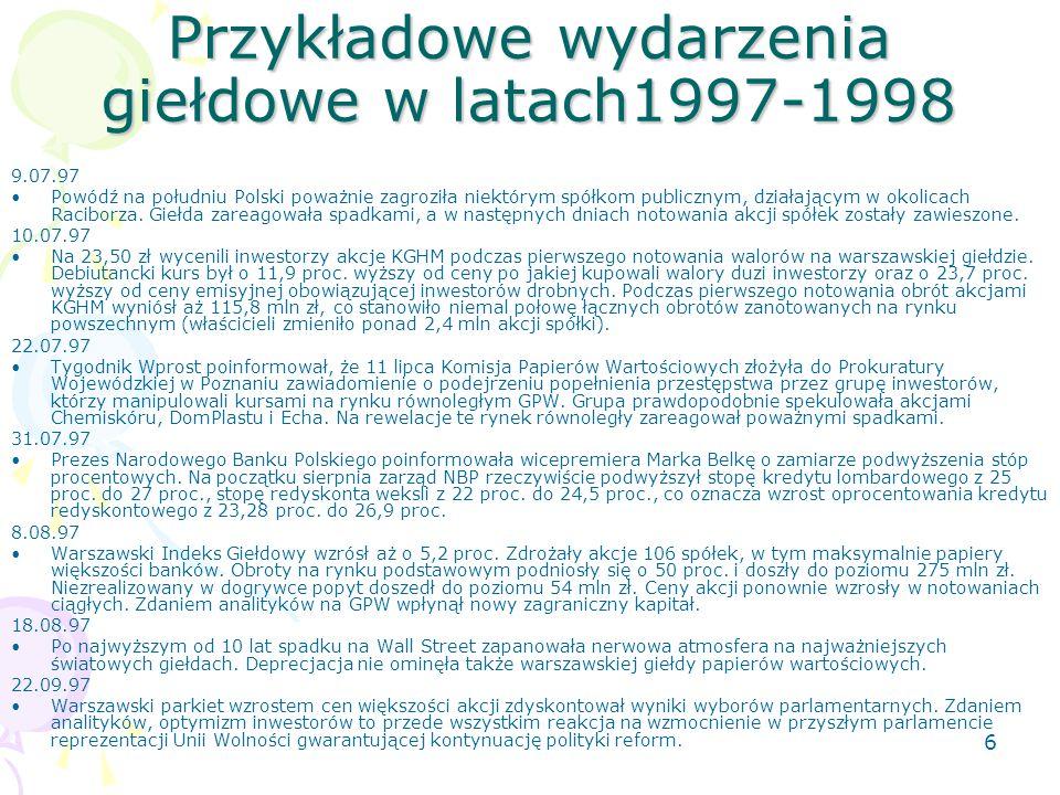 5 Przykładowe wydarzenia giełdowe w latach1997-1998 12.05.97 Rozpoczęła się konwersja powszechnych świadectw udziałowych na akcje NFI. 21.05.97 Na war