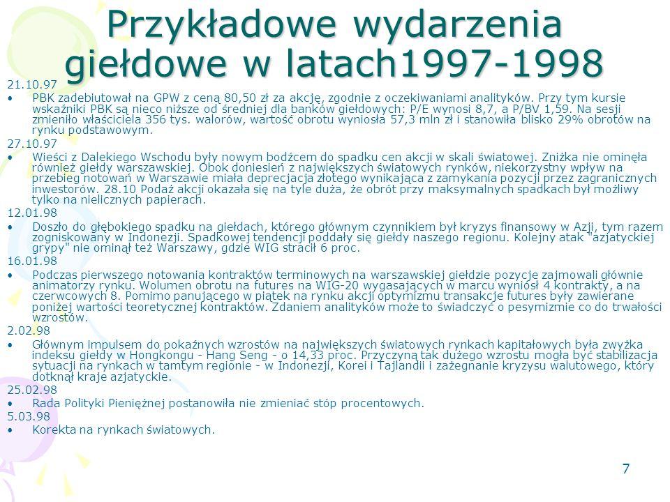7 Przykładowe wydarzenia giełdowe w latach1997-1998 21.10.97 PBK zadebiutował na GPW z ceną 80,50 zł za akcję, zgodnie z oczekiwaniami analityków.