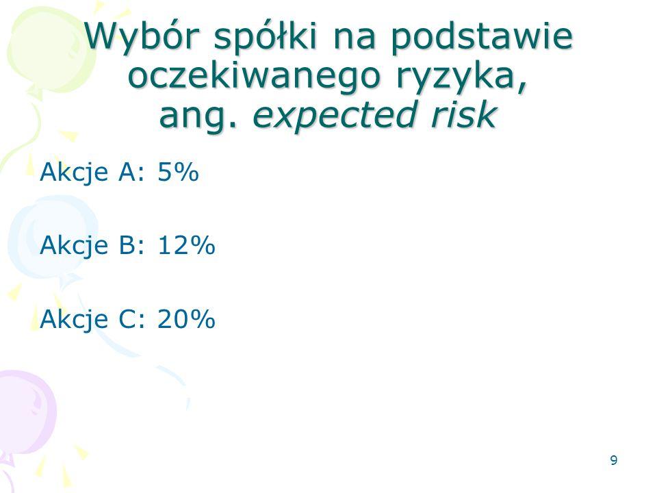 8 Wybór spółki na podstawie oczekiwanej stopy zwrotu ang. expected return Akcje A: 7% Akcje B: 10% Akcje C: 15%