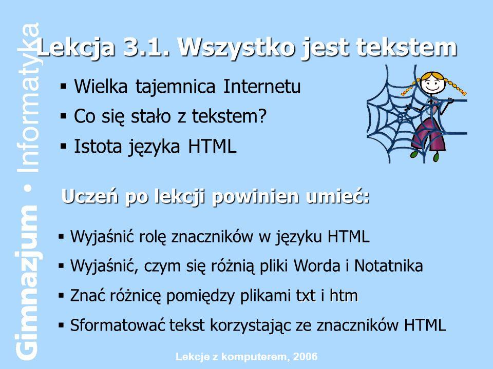 Lekcje z komputerem, 2006 Lekcja 2.5 Jacy jesteśmy.