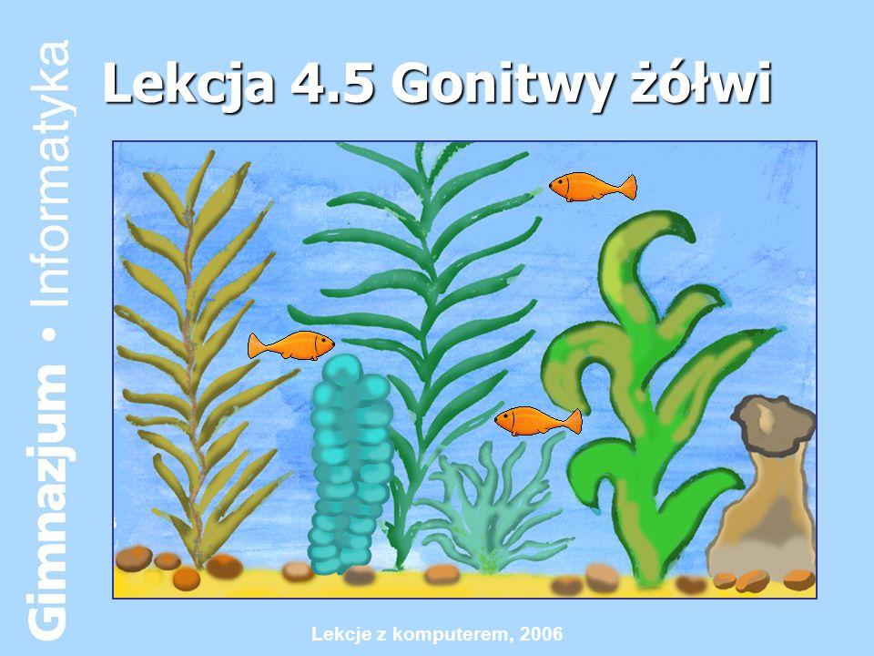 Lekcje z komputerem, 2006 Uczeń po lekcji powinien umieć:  Tworzyć proste animacje z wykorzystaniem wielu żółwi  Uruchamiać procesy  Wykorzystywać podstawowe zdarzenia