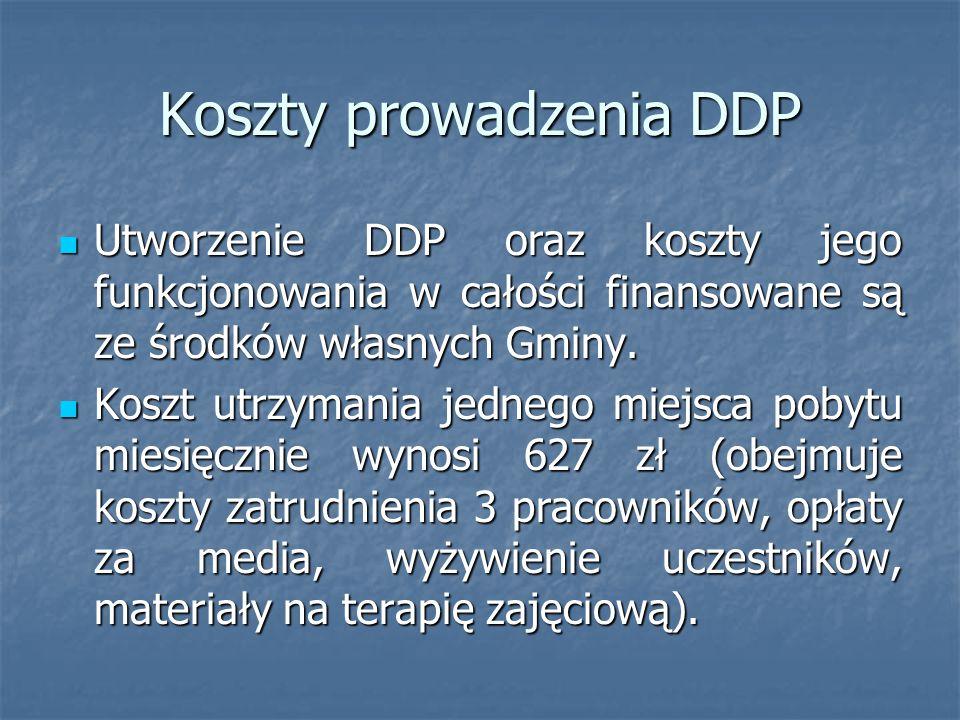 Koszty prowadzenia DDP Utworzenie DDP oraz koszty jego funkcjonowania w całości finansowane są ze środków własnych Gminy. Utworzenie DDP oraz koszty j