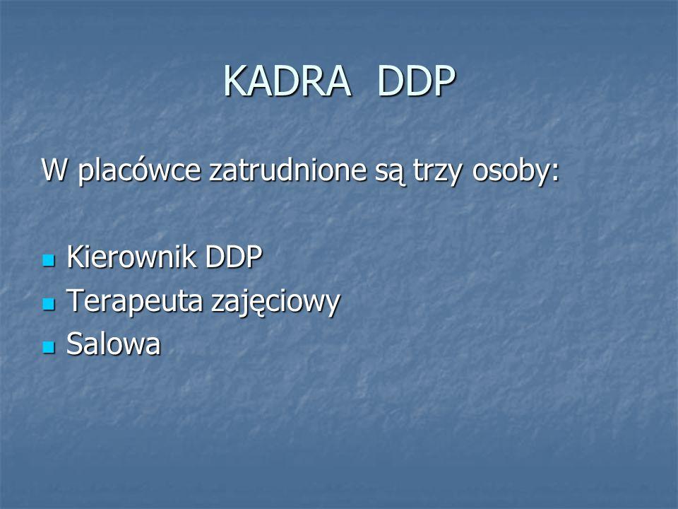 KADRA DDP W placówce zatrudnione są trzy osoby: Kierownik DDP Kierownik DDP Terapeuta zajęciowy Terapeuta zajęciowy Salowa Salowa