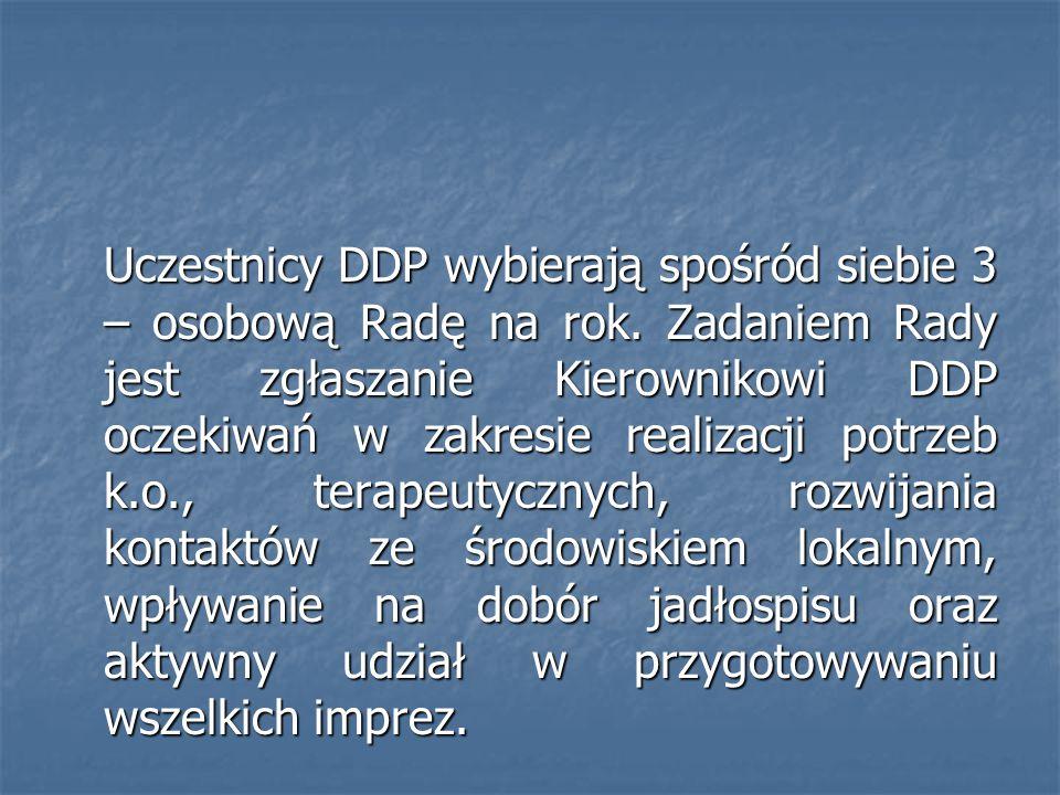 Uczestnicy DDP wybierają spośród siebie 3 – osobową Radę na rok. Zadaniem Rady jest zgłaszanie Kierownikowi DDP oczekiwań w zakresie realizacji potrze