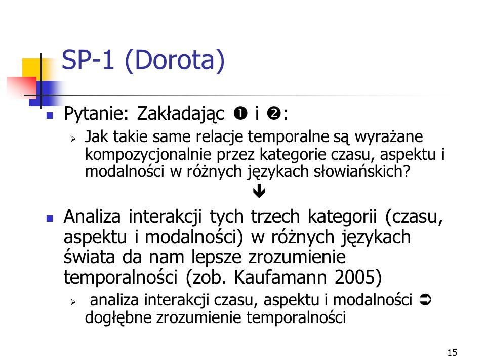 15 SP-1 (Dorota) Pytanie: Zakładając  i  :  Jak takie same relacje temporalne są wyrażane kompozycjonalnie przez kategorie czasu, aspektu i modalno
