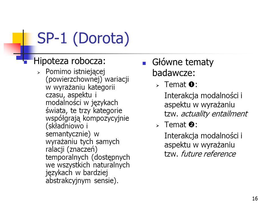 16 SP-1 (Dorota) Hipoteza robocza:  Pomimo istniejącej (powierzchownej) wariacji w wyrażaniu kategorii czasu, aspektu i modalności w językach świata,