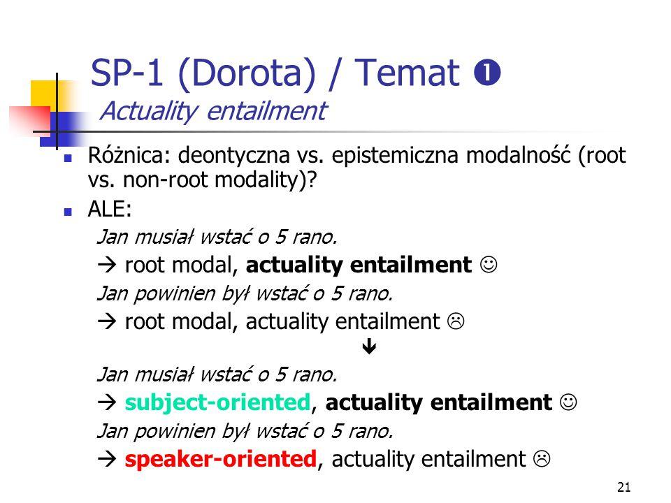 21 SP-1 (Dorota) / Temat  Actuality entailment Różnica: deontyczna vs. epistemiczna modalność (root vs. non-root modality)? ALE: Jan musiał wstać o 5