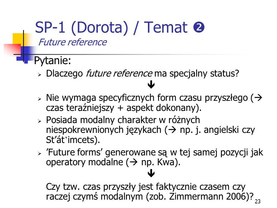 23 SP-1 (Dorota) / Temat  Future reference Pytanie:  Dlaczego future reference ma specjalny status?   Nie wymaga specyficznych form czasu przyszłe