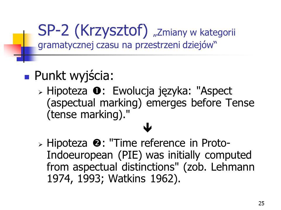 """25 SP-2 (Krzysztof) """"Zmiany w kategorii gramatycznej czasu na przestrzeni dziejów"""" Punkt wyjścia:  Hipoteza  : Ewolucja języka:"""