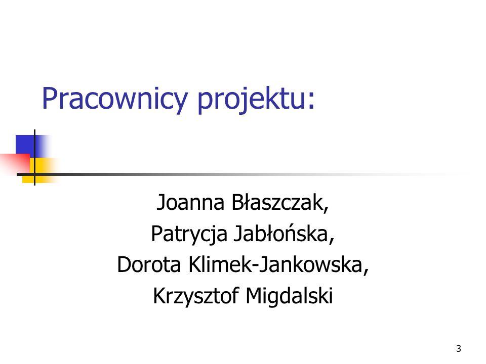 3 Pracownicy projektu: Joanna Błaszczak, Patrycja Jabłońska, Dorota Klimek-Jankowska, Krzysztof Migdalski