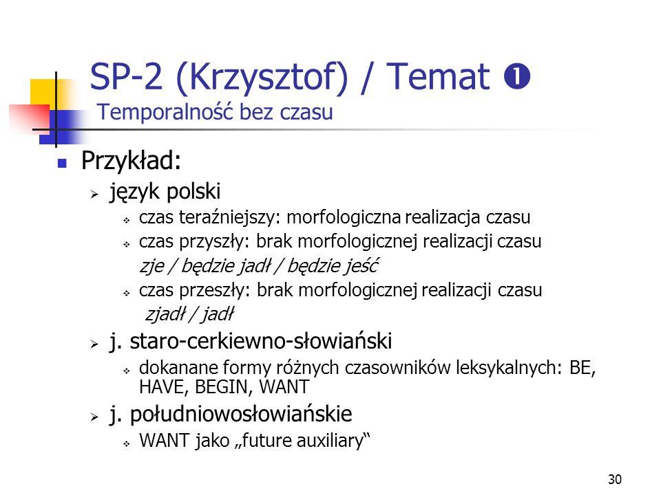 30 SP-2 (Krzysztof) / Temat  Temporalność bez czasu Przykład:  język polski  czas teraźniejszy: morfologiczna realizacja czasu  czas przyszły: bra