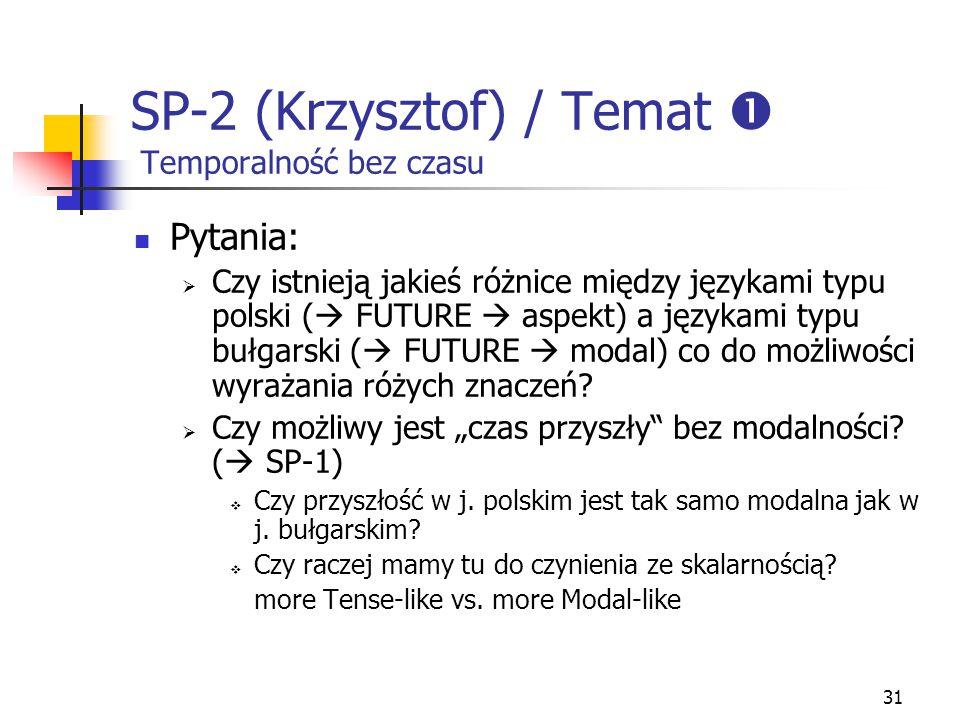 31 SP-2 (Krzysztof) / Temat  Temporalność bez czasu Pytania:  Czy istnieją jakieś różnice między językami typu polski (  FUTURE  aspekt) a językam