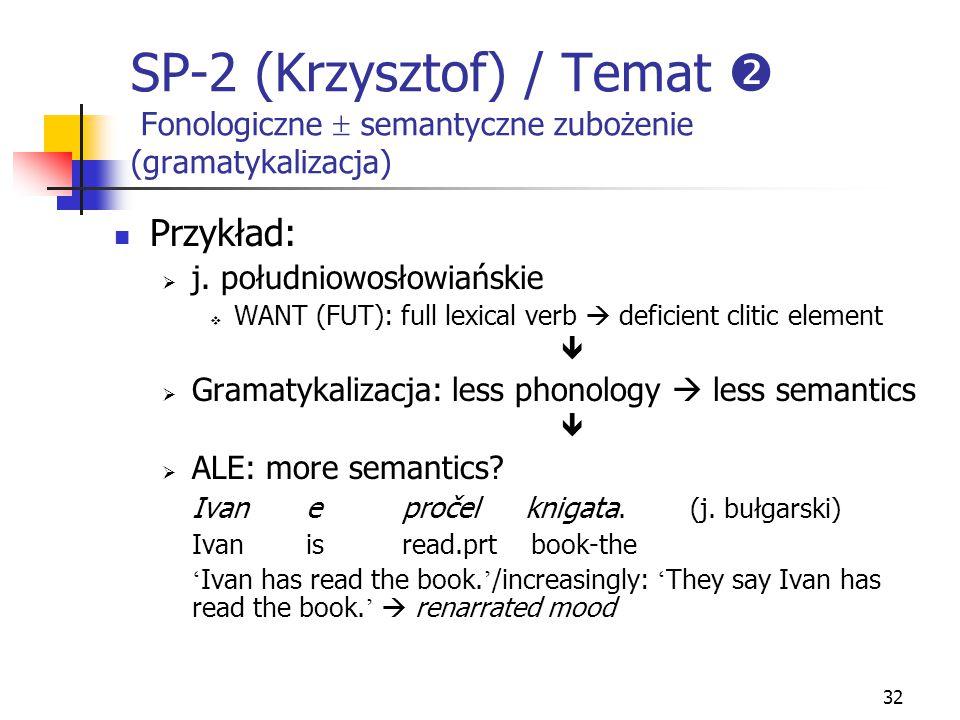 32 SP-2 (Krzysztof) / Temat  Fonologiczne  semantyczne zubożenie (gramatykalizacja) Przykład:  j. południowosłowiańskie  WANT (FUT): full lexical