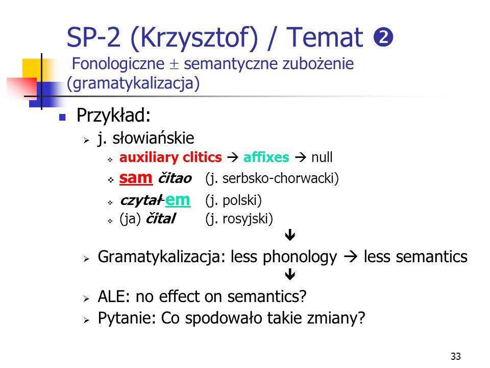 33 SP-2 (Krzysztof) / Temat  Fonologiczne  semantyczne zubożenie (gramatykalizacja) Przykład:  j. słowiańskie  auxiliary clitics  affixes  null