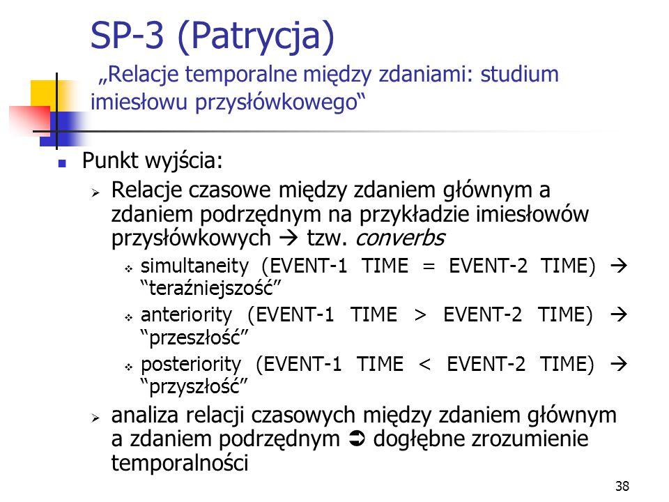 """38 SP-3 (Patrycja) """"Relacje temporalne między zdaniami: studium imiesłowu przysłówkowego"""" Punkt wyjścia:  Relacje czasowe między zdaniem głównym a zd"""