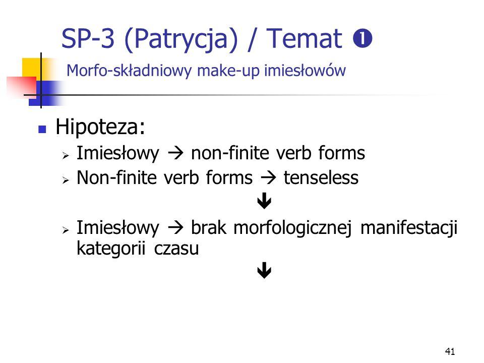 41 SP-3 (Patrycja) / Temat  Morfo-składniowy make-up imiesłowów Hipoteza:  Imiesłowy  non-finite verb forms  Non-finite verb forms  tenseless  