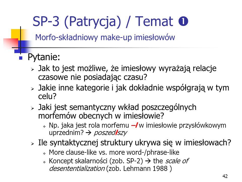 42 SP-3 (Patrycja) / Temat  Morfo-składniowy make-up imiesłowów Pytanie:  Jak to jest możliwe, że imiesłowy wyrażają relacje czasowe nie posiadając