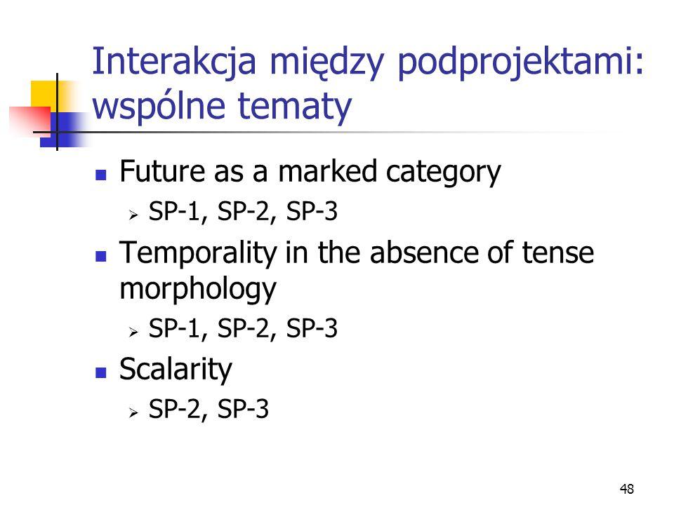48 Interakcja między podprojektami: wspólne tematy Future as a marked category  SP-1, SP-2, SP-3 Temporality in the absence of tense morphology  SP-