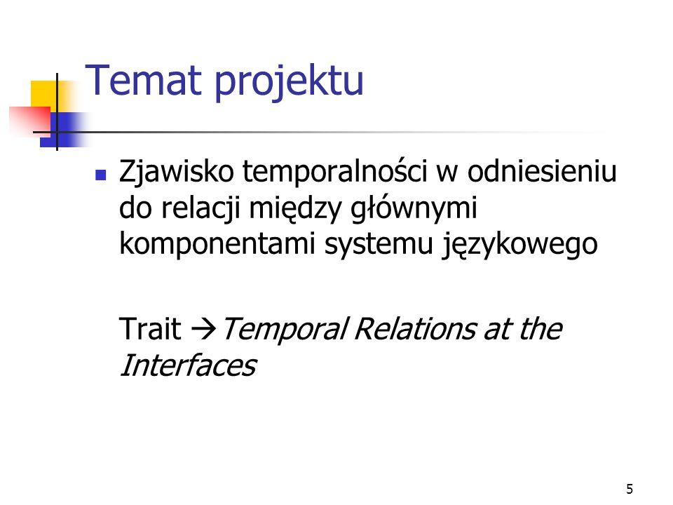 5 Temat projektu Zjawisko temporalności w odniesieniu do relacji między głównymi komponentami systemu językowego Trait  Temporal Relations at the Int