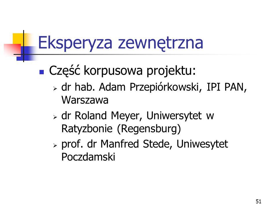 51 Eksperyza zewnętrzna Część korpusowa projektu:  dr hab. Adam Przepiórkowski, IPI PAN, Warszawa  dr Roland Meyer, Uniwersytet w Ratyzbonie (Regens