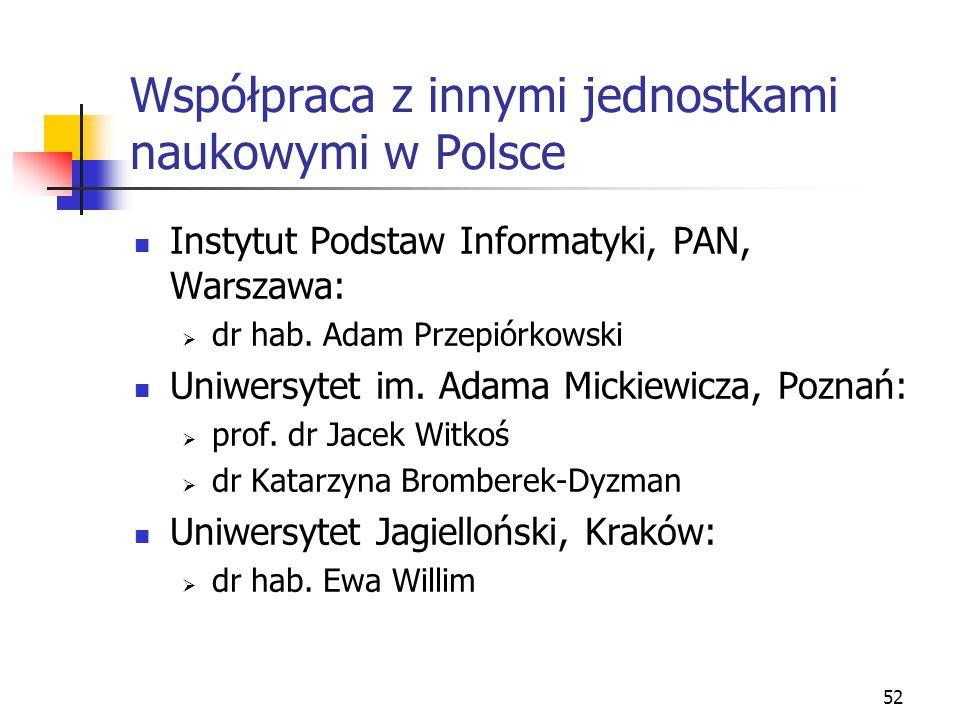 52 Współpraca z innymi jednostkami naukowymi w Polsce Instytut Podstaw Informatyki, PAN, Warszawa:  dr hab. Adam Przepiórkowski Uniwersytet im. Adama
