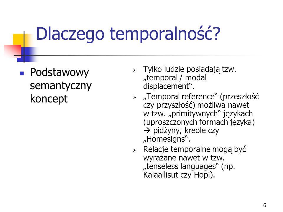 """6 Dlaczego temporalność? Podstawowy semantyczny koncept  Tylko ludzie posiadają tzw. """"temporal / modal displacement"""".  """"Temporal reference"""" (przeszł"""