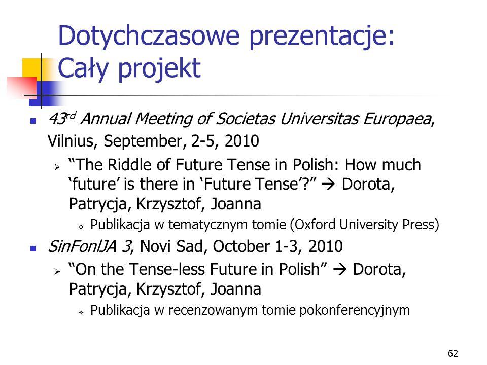 "62 Dotychczasowe prezentacje: Cały projekt 43 rd Annual Meeting of Societas Universitas Europaea, Vilnius, September, 2-5, 2010  ""The Riddle of Futur"