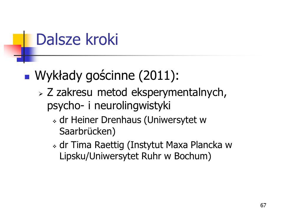 67 Dalsze kroki Wykłady gościnne (2011):  Z zakresu metod eksperymentalnych, psycho- i neurolingwistyki  dr Heiner Drenhaus (Uniwersytet w Saarbrück